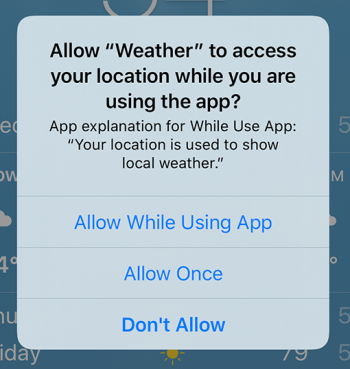 Apple requesting permission to user location