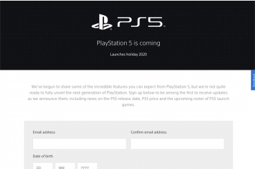 Screenshot of the official PlayStation 5 Website