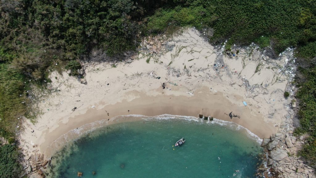 Aerial of the research beach at the Soko Islands
